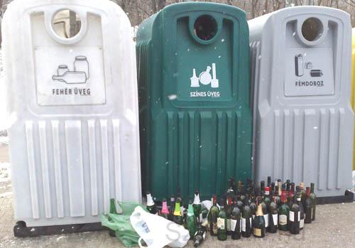 Színes üveg hulladék